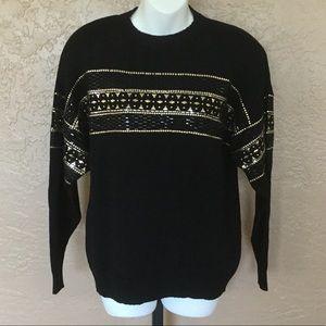 St. John Santana Knit Black Sweater L Gold Accents